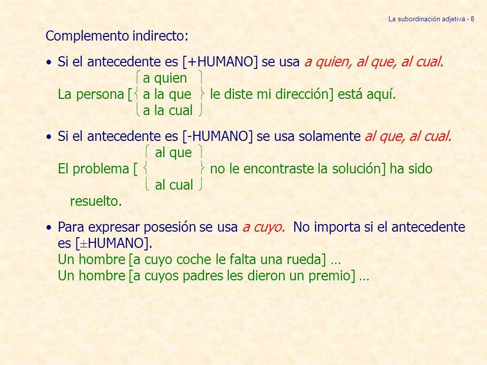 C.Para expresar posesión se usa cuyo si el antecedente es [-HUMANO] y a cuyo cuando es [+HUMANO].
