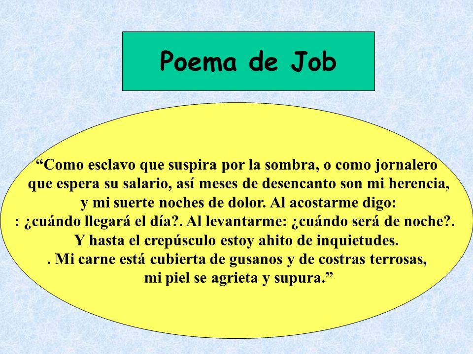 Poema de Job Como esclavo que suspira por la sombra, o como jornalero que espera su salario, así meses de desencanto son mi herencia, y mi suerte noch