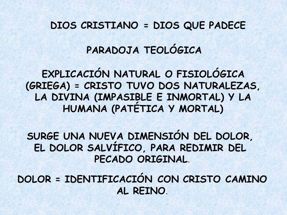 DIOS CRISTIANO = DIOS QUE PADECE PARADOJA TEOLÓGICA EXPLICACIÓN NATURAL O FISIOLÓGICA (GRIEGA) = CRISTO TUVO DOS NATURALEZAS, LA DIVINA (IMPASIBLE E I