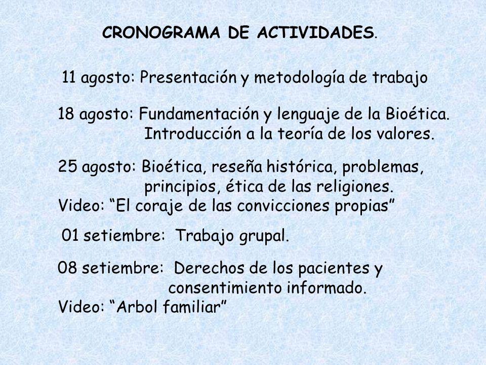 CRONOGRAMA DE ACTIVIDADES. 11 agosto: Presentación y metodología de trabajo 18 agosto: Fundamentación y lenguaje de la Bioética. Introducción a la teo
