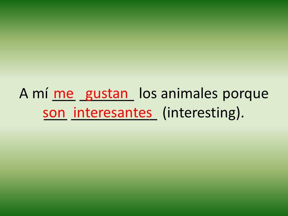 A mí ___ _______ los animales porque ___ ___________ (interesting). me interesantesson gustan