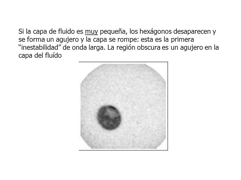 Si la capa de fluido es muy pequeña, los hexágonos desaparecen y se forma un agujero y la capa se rompe: esta es la primera inestabilidad de onda larg
