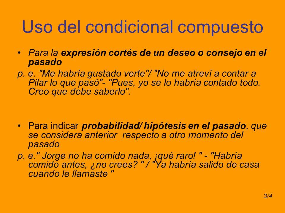Uso del condicional compuesto Para la expresión cortés de un deseo o consejo en el pasado p. e.