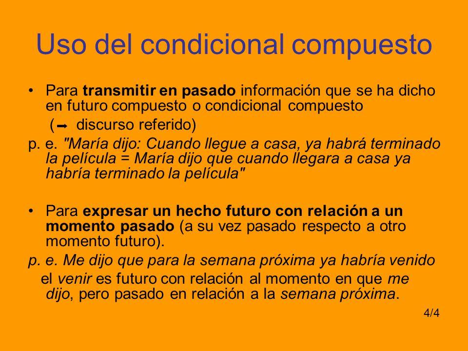 Uso del condicional compuesto Para transmitir en pasado información que se ha dicho en futuro compuesto o condicional compuesto ( discurso referido) p.
