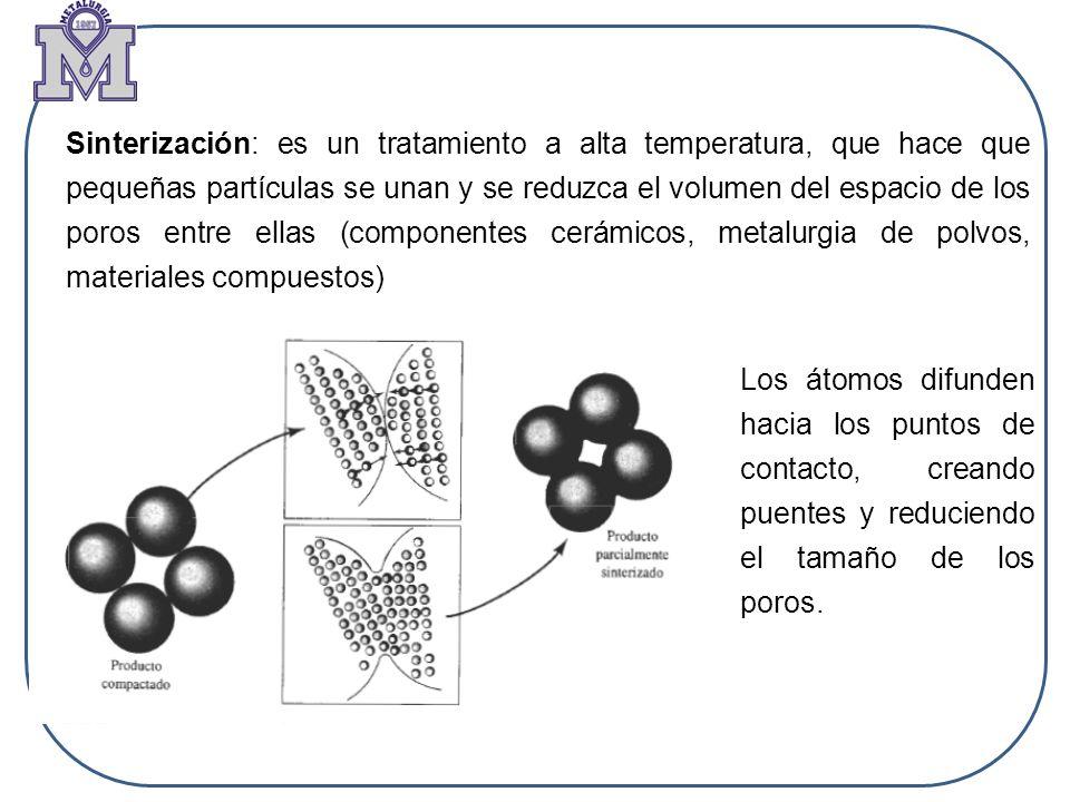 Sinterización: es un tratamiento a alta temperatura, que hace que pequeñas partículas se unan y se reduzca el volumen del espacio de los poros entre e