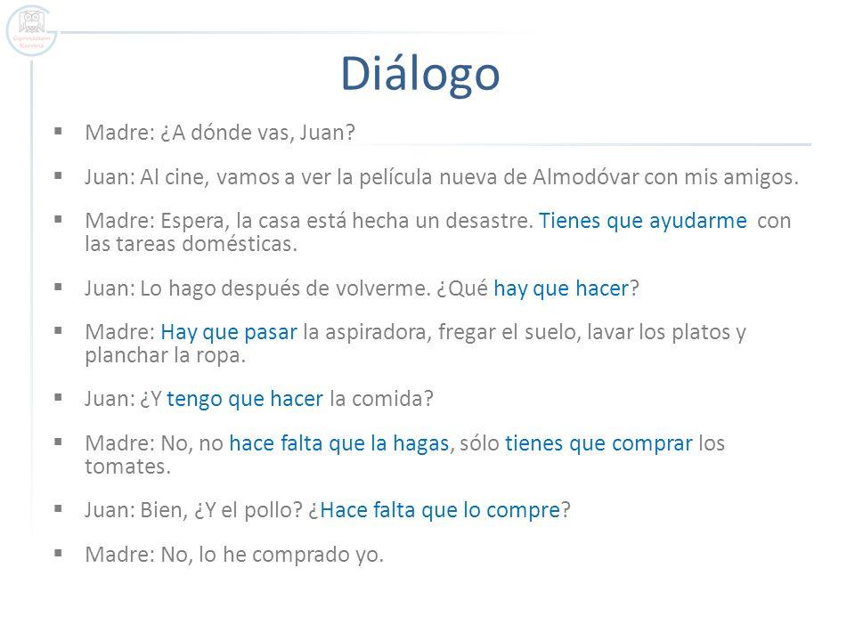 Diálogo Madre: ¿A dónde vas, Juan? Juan: Al cine, vamos a ver la película nueva de Almodóvar con mis amigos. Madre: Espera, la casa está hecha un desa