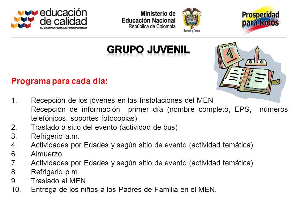 Programa para cada día: 1.Recepción de los jóvenes en las Instalaciones del MEN. Recepción de información primer día (nombre completo, EPS, números te