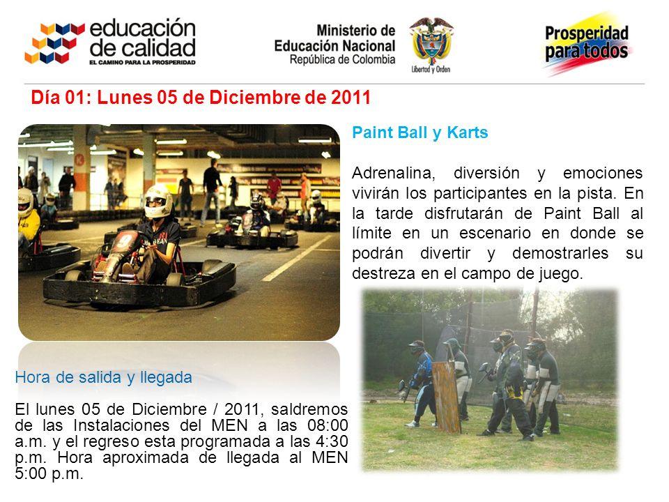 Paint Ball y Karts Adrenalina, diversión y emociones vivirán los participantes en la pista. En la tarde disfrutarán de Paint Ball al límite en un esce