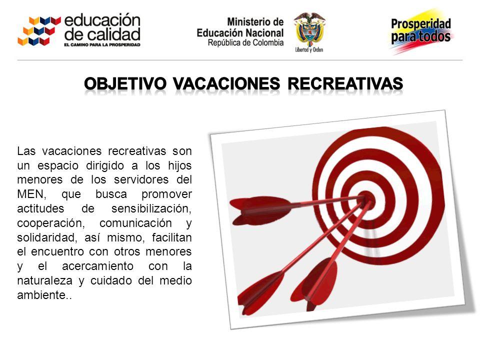 CAMPAMENTO Las vacaciones recreativas son un espacio dirigido a los hijos menores de los servidores del MEN, que busca promover actitudes de sensibili