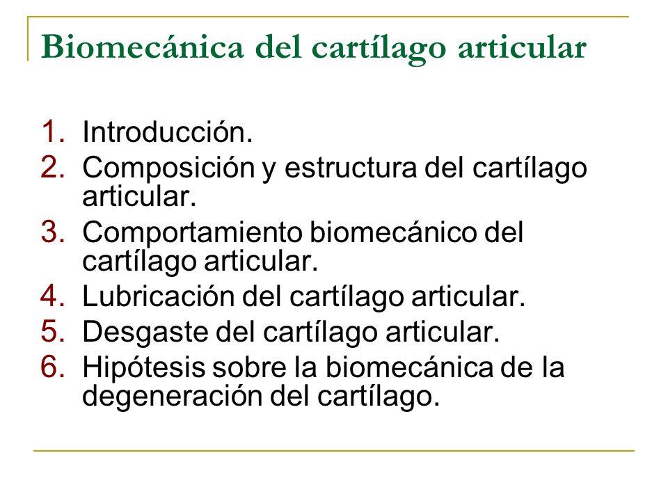 Biomecánica del cartílago articular 1. Introducción. 2. Composición y estructura del cartílago articular. 3. Comportamiento biomecánico del cartílago