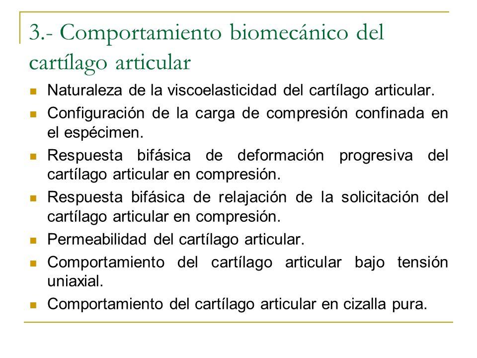 3.- Comportamiento biomecánico del cartílago articular Naturaleza de la viscoelasticidad del cartílago articular. Configuración de la carga de compres