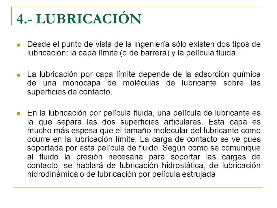 4.- LUBRICACIÓN Desde el punto de vista de la ingeniería sólo existen dos tipos de lubricación: la capa límite (o de barrera) y la película fluida. La