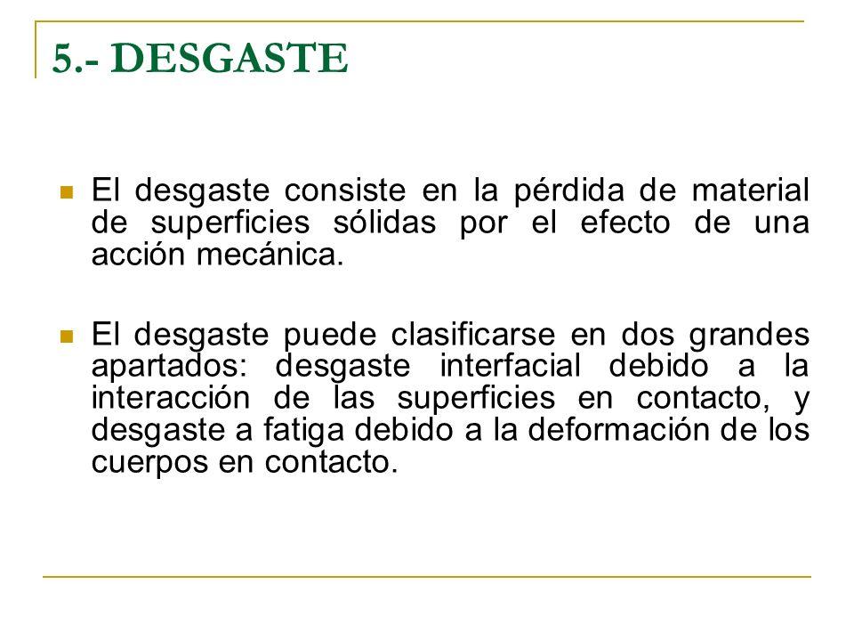 5.- DESGASTE El desgaste consiste en la pérdida de material de superficies sólidas por el efecto de una acción mecánica. El desgaste puede clasificars