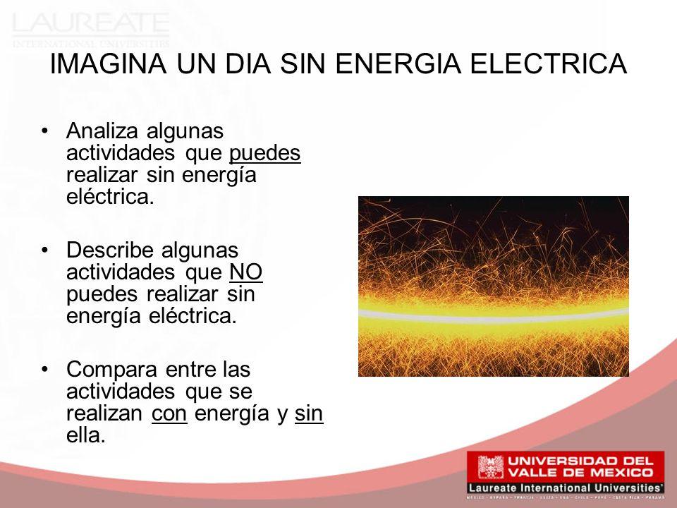 IMAGINA UN DIA SIN ENERGIA ELECTRICA Analiza algunas actividades que puedes realizar sin energía eléctrica.