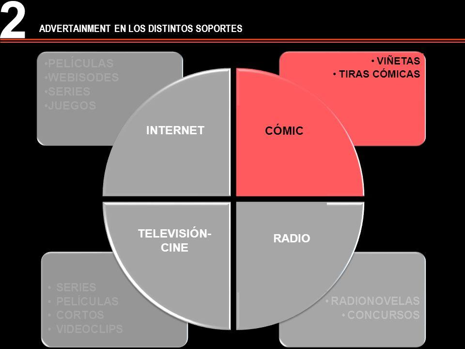 1 Difícil diferenciación Según Martí (2005) las estrategias que configuran las características principales del advertainment son: Preponderancia de la