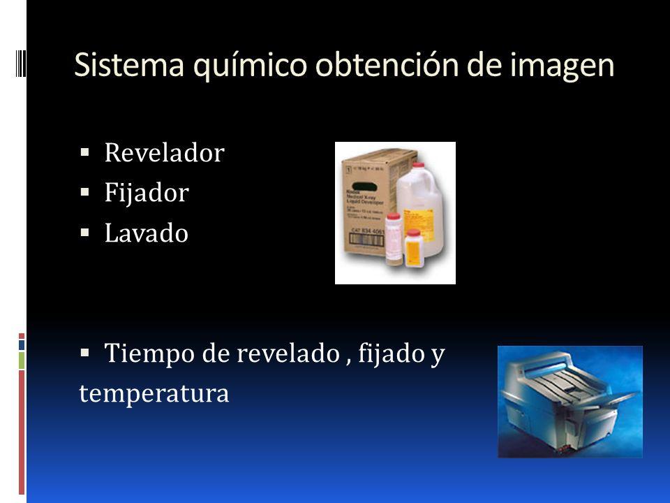 Sistema químico obtención de imagen Revelador Fijador Lavado Tiempo de revelado, fijado y temperatura