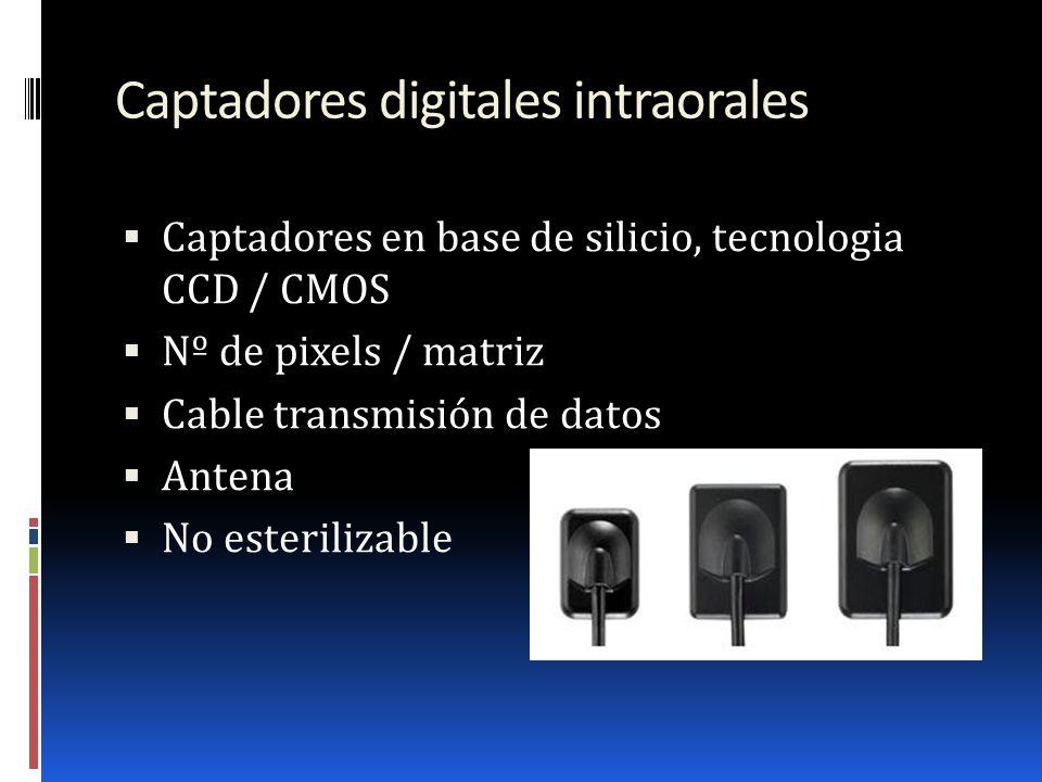 Captadores digitales intraorales Captadores en base de silicio, tecnologia CCD / CMOS Nº de pixels / matriz Cable transmisión de datos Antena No ester