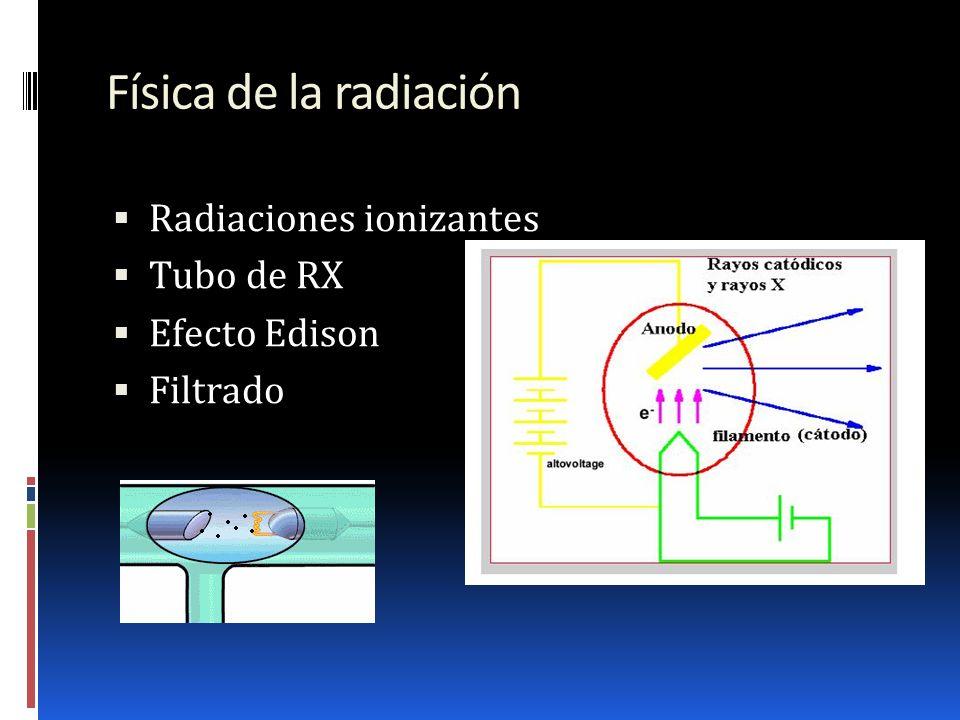 Física de la radiación Radiaciones ionizantes Tubo de RX Efecto Edison Filtrado