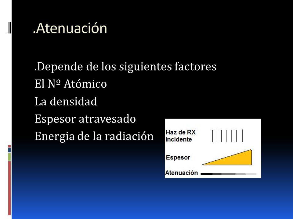 .Atenuación.Depende de los siguientes factores El Nº Atómico La densidad Espesor atravesado Energia de la radiación