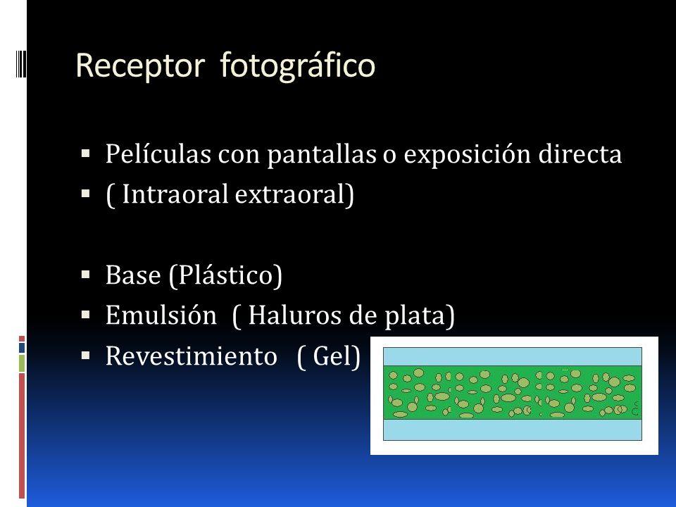 Receptor fotográfico Películas con pantallas o exposición directa ( Intraoral extraoral) Base (Plástico) Emulsión ( Haluros de plata) Revestimiento (