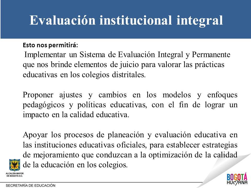 Evaluación institucional integral Esto nos permitirá: Implementar un Sistema de Evaluación Integral y Permanente que nos brinde elementos de juicio pa