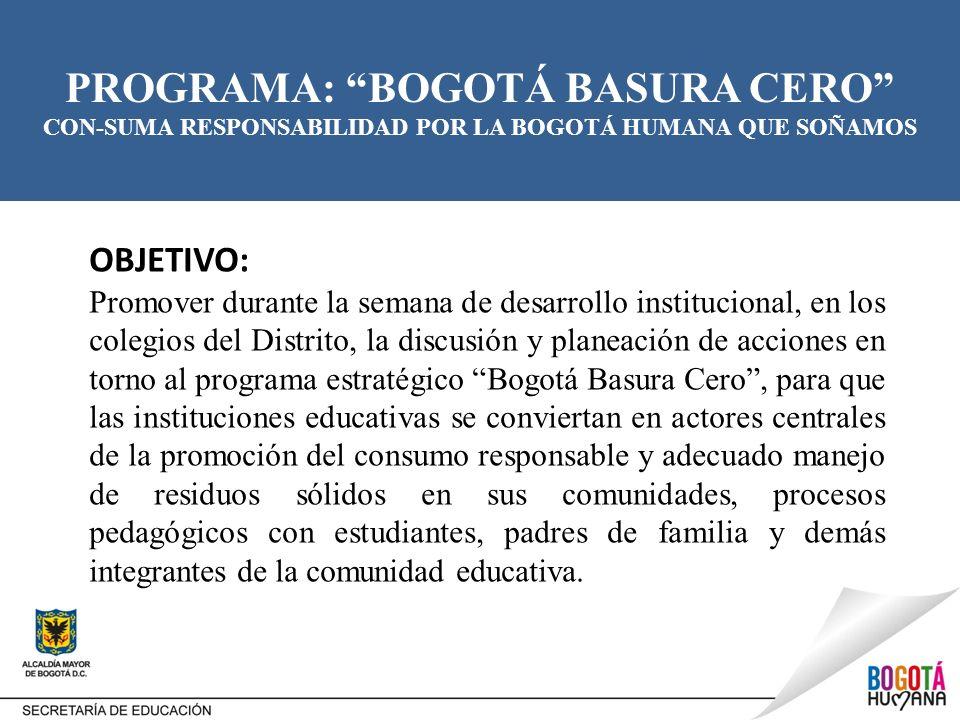 PROGRAMA: BOGOTÁ BASURA CERO CON-SUMA RESPONSABILIDAD POR LA BOGOTÁ HUMANA QUE SOÑAMOS OBJETIVO: Promover durante la semana de desarrollo instituciona