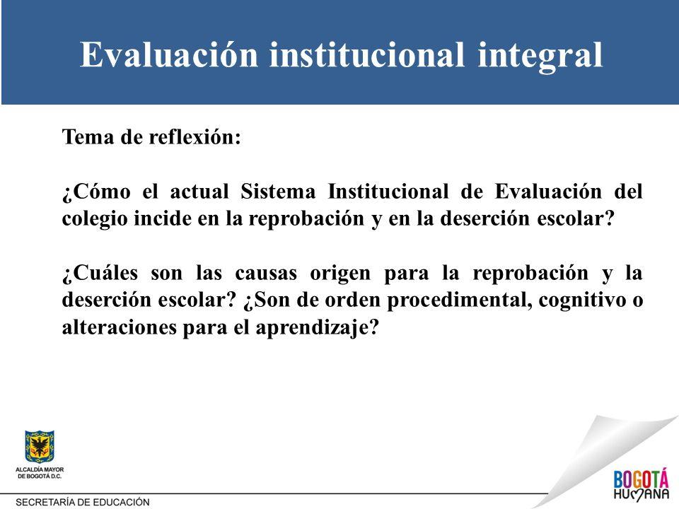Evaluación institucional integral Tema de reflexión: ¿Cómo el actual Sistema Institucional de Evaluación del colegio incide en la reprobación y en la