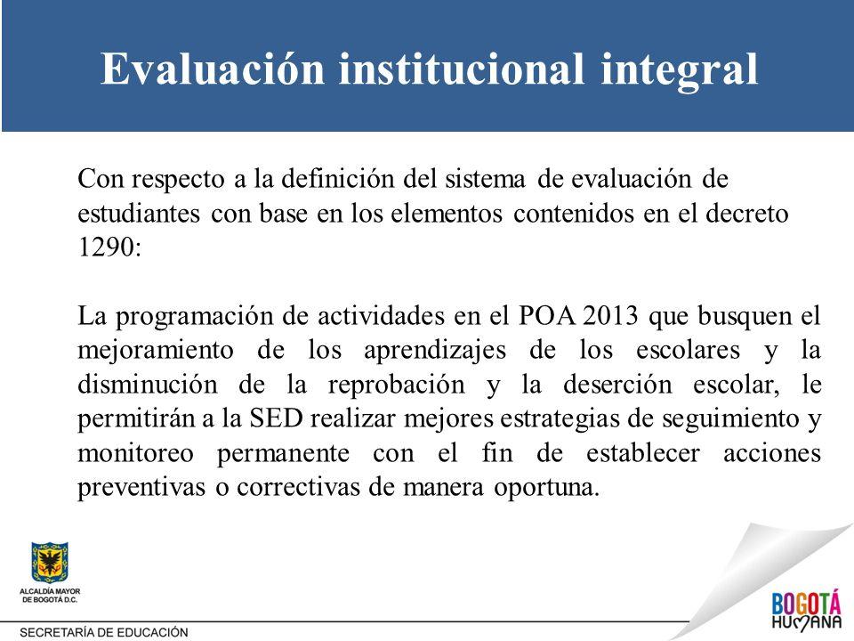 Evaluación institucional integral Con respecto a la definición del sistema de evaluación de estudiantes con base en los elementos contenidos en el dec