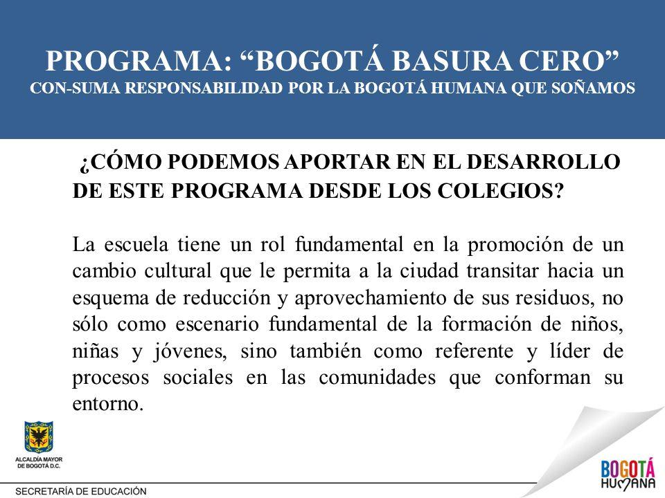 PROGRAMA: BOGOTÁ BASURA CERO CON-SUMA RESPONSABILIDAD POR LA BOGOTÁ HUMANA QUE SOÑAMOS ACCIONES PROPUESTAS Los colegios dentro de su planeación, durante la semana de desarrollo institucional podrán socializar el Programa Bogotá Basura Cero, con la comunidad educativa, teniendo en cuenta algunas de las siguientes acciones: Fortalecer el Proyecto Ambiental Escolar -PRAE- con la participación de estudiantes, padres de familia, docentes, directivos docentes y administrativos.
