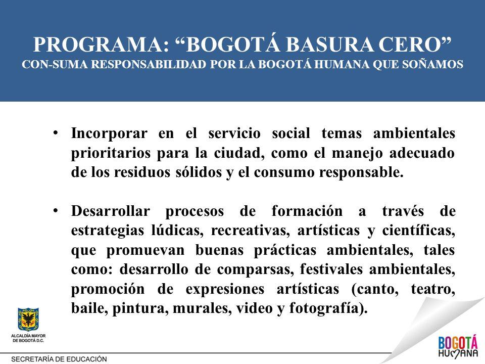 PROGRAMA: BOGOTÁ BASURA CERO CON-SUMA RESPONSABILIDAD POR LA BOGOTÁ HUMANA QUE SOÑAMOS Incorporar en el servicio social temas ambientales prioritarios
