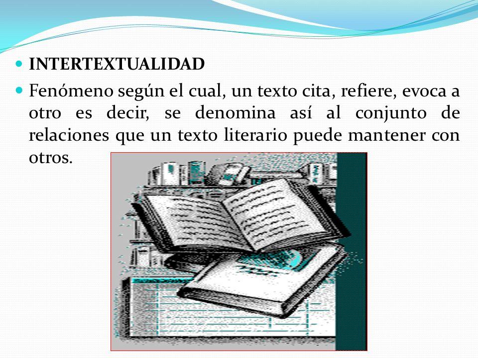 INTERTEXTUALIDAD Fenómeno según el cual, un texto cita, refiere, evoca a otro es decir, se denomina así al conjunto de relaciones que un texto literario puede mantener con otros.