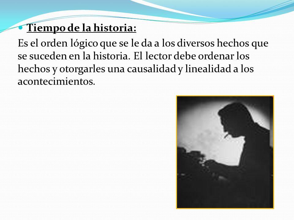 Tiempo de la historia: Es el orden lógico que se le da a los diversos hechos que se suceden en la historia.