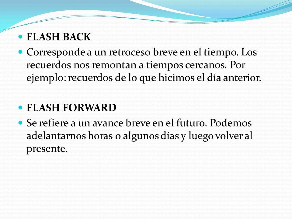 FLASH BACK Corresponde a un retroceso breve en el tiempo.