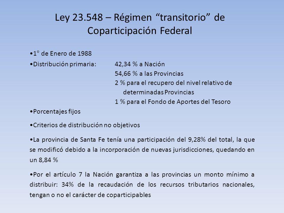 Ley 23.548 – Régimen transitorio de Coparticipación Federal 1° de Enero de 1988 Distribución primaria: 42,34 % a Nación 54,66 % a las Provincias 2 % para el recupero del nivel relativo de determinadas Provincias 1 % para el Fondo de Aportes del Tesoro Porcentajes fijos Criterios de distribución no objetivos La provincia de Santa Fe tenía una participación del 9,28% del total, la que se modificó debido a la incorporación de nuevas jurisdicciones, quedando en un 8,84 % Por el artículo 7 la Nación garantiza a las provincias un monto mínimo a distribuir: 34% de la recaudación de los recursos tributarios nacionales, tengan o no el carácter de coparticipables