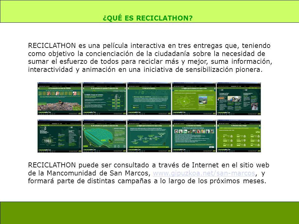 ¿QUÉ ES RECICLATHON? RECICLATHON es una película interactiva en tres entregas que, teniendo como objetivo la concienciación de la ciudadanía sobre la