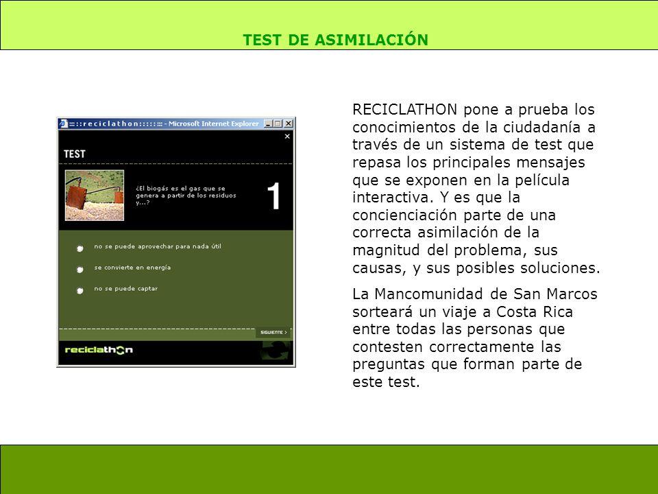 RECICLATHON pone a prueba los conocimientos de la ciudadanía a través de un sistema de test que repasa los principales mensajes que se exponen en la película interactiva.