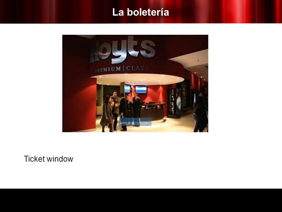 La boletería Ticket window