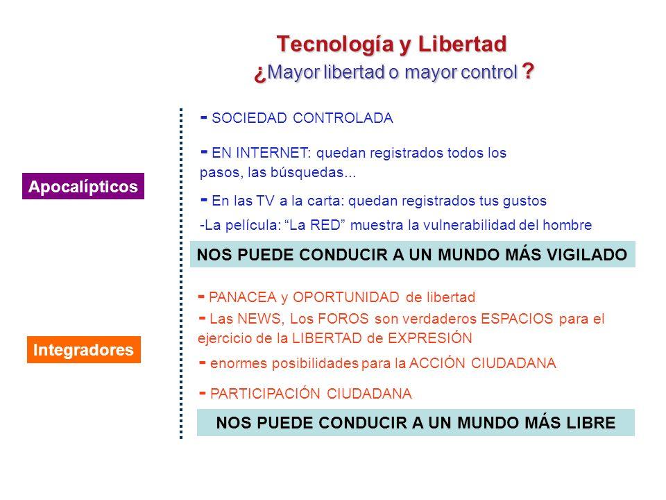 TECNOLOGÍA Y LIBERTAD ¿ Mayor libertad o mayor control ?