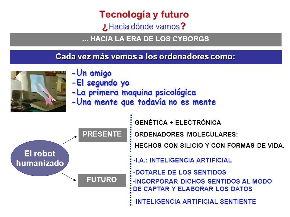 ... HACIA LA ERA DE LOS CYBORGS Hans Moravec:: Estamos en el principio de la civilización de los CYBORGS El hombre robotizado Tecnología y futuro ¿ Ha