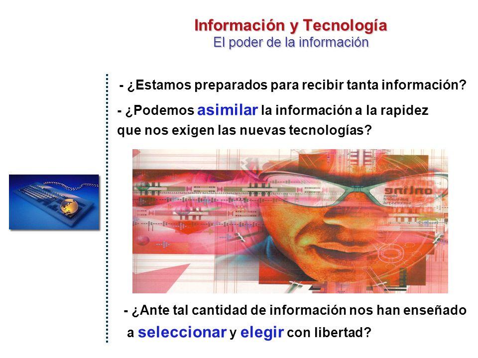 Información y Tecnología El poder de la información LIBRO IMPRENTA RADIO y TV PODER DEL CONTROL INTERNET ¿SIN CENSURA.