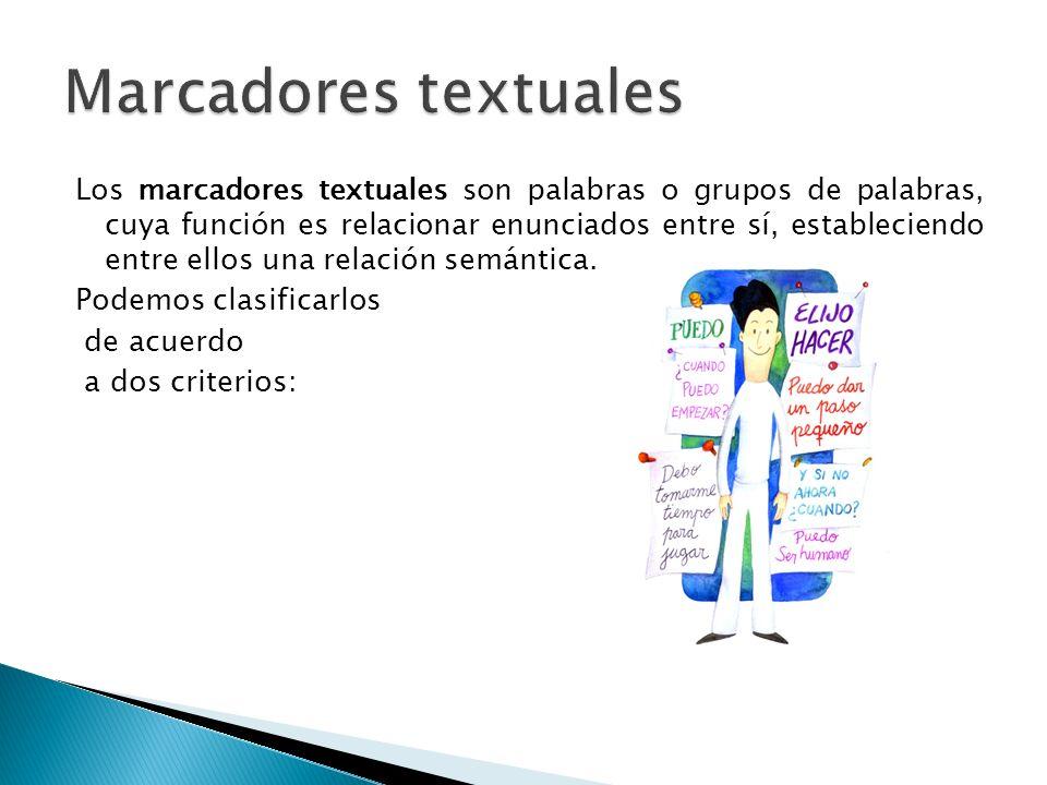 Los marcadores textuales proporcionan cohesión al texto y ayudan a interpretar correctamente su sentido, pero no desempeñan ninguna función sintáctica dentro de la oración.