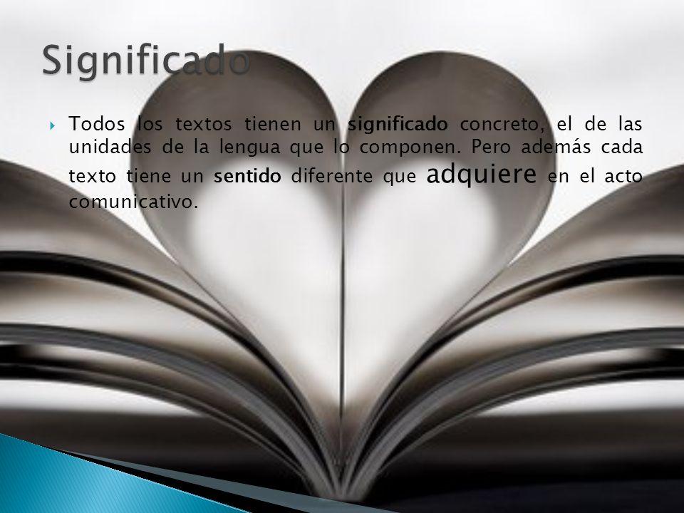 Sentido textual Factores que influyen en la interpretación de un texto Es la finalidad que posee un texto al ser emitido en una determinada situación y para un destinatario concreto.