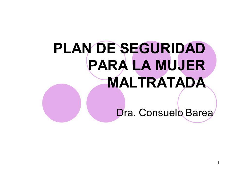 1 PLAN DE SEGURIDAD PARA LA MUJER MALTRATADA Dra. Consuelo Barea