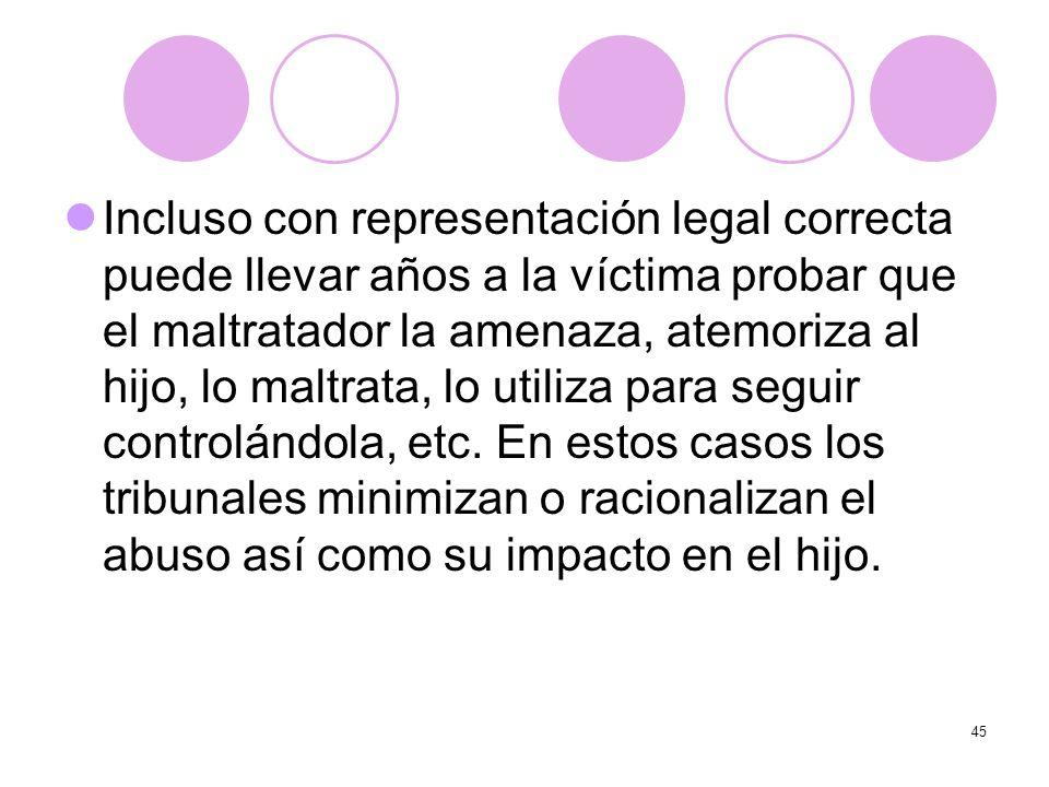 45 Incluso con representación legal correcta puede llevar años a la víctima probar que el maltratador la amenaza, atemoriza al hijo, lo maltrata, lo u