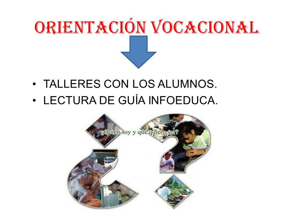 ORIENTACIÓN VOCACIONAL TALLERES CON LOS ALUMNOS. LECTURA DE GUÍA INFOEDUCA.