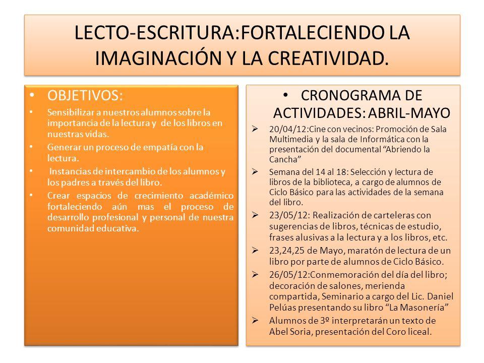 LECTO-ESCRITURA:FORTALECIENDO LA IMAGINACIÓN Y LA CREATIVIDAD. OBJETIVOS: Sensibilizar a nuestros alumnos sobre la importancia de la lectura y de los