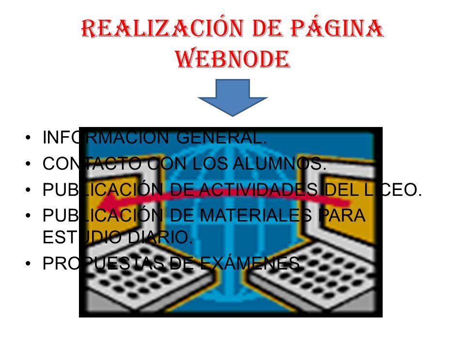 rEALIZACIÓN DE PÁGINA WEBNODE INFORMACIÓN GENERAL.