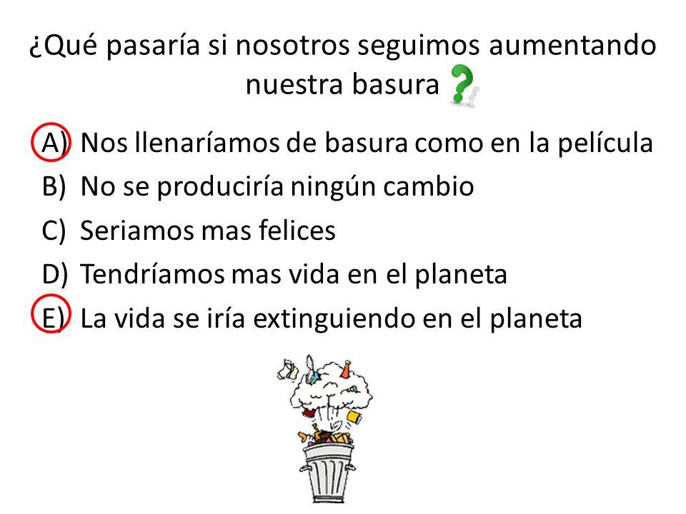 ¿Qué pasaría si nosotros seguimos aumentando nuestra basura A)Nos llenaríamos de basura como en la película B)No se produciría ningún cambio C)Seriamos mas felices D)Tendríamos mas vida en el planeta E)La vida se iría extinguiendo en el planeta