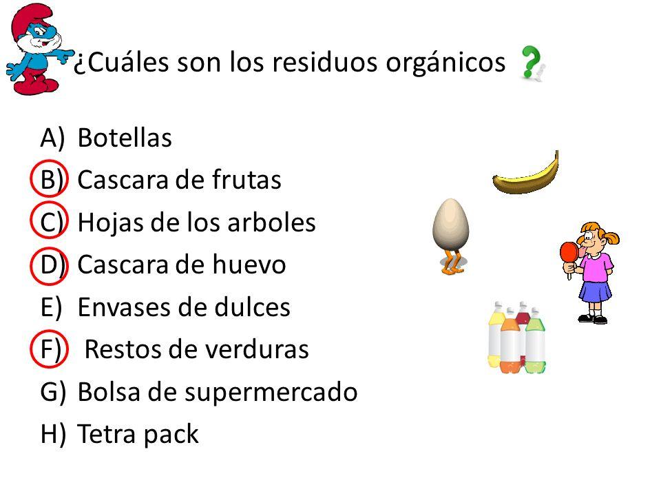 ¿Cuáles son los residuos orgánicos A)Botellas B)Cascara de frutas C)Hojas de los arboles D)Cascara de huevo E)Envases de dulces F) Restos de verduras G)Bolsa de supermercado H)Tetra pack