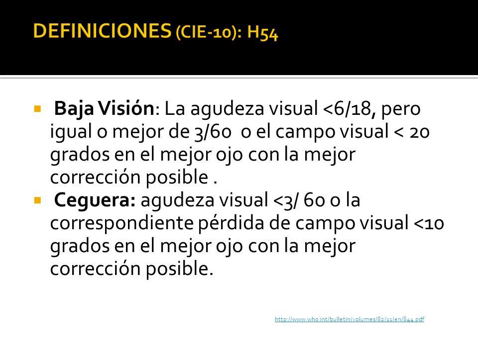 Baja Visión: La agudeza visual <6/18, pero igual o mejor de 3/60 o el campo visual < 20 grados en el mejor ojo con la mejor corrección posible. Ceguer